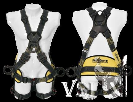 Arnés 4 Argollas en Kevlar. Arco eléctrico con argolla dorsal en reata y soporte lumbar.